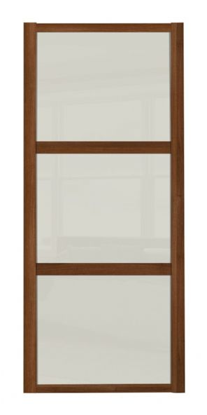 Shaker Sliding Wardrobe Door- WALNUT FRAME - 3  SOFT WHITE PANELS